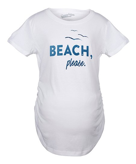 18834eda3a95b love this product White 'Beach Please' Shimmer Ink Maternity Tee