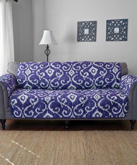 Awe Inspiring Journee Home Blue Ikat Reversible Sofa Protector Ibusinesslaw Wood Chair Design Ideas Ibusinesslaworg