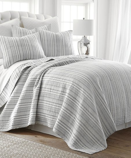 levtex home gray white stripe quilt set zulily