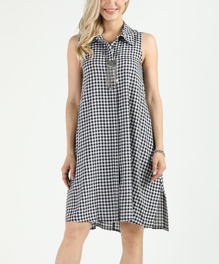 b036b07b Suzanne Betro Black & White Gingham Button-Up Dress - Plus | Zulily