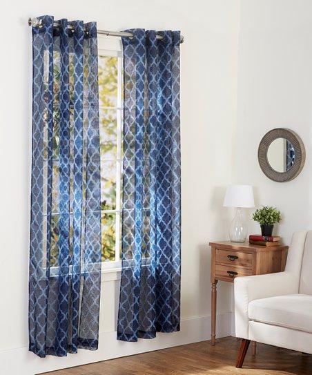 Navy Blue Sheer Geometric Curtain Panel