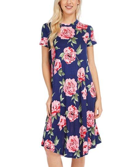 Navy Floral Mock Neck Dress