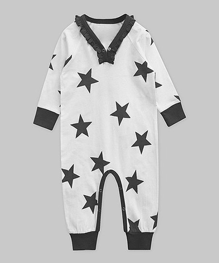 81181e2ffa2 love this product Black   White Star Ruffle-Trim Playsuit - Newborn   Infant