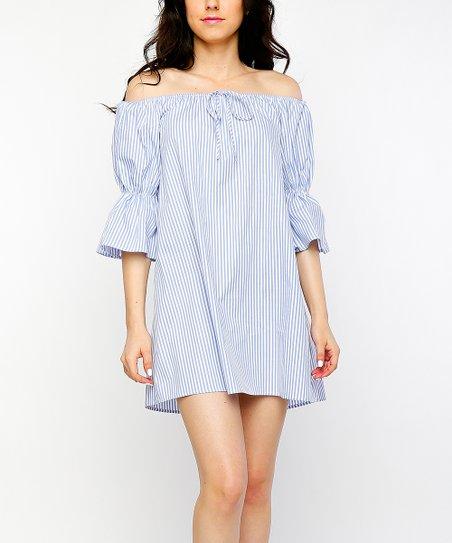 504dbef202c6 Timing Blue   White Pin Stripe Poplin Off-Shoulder Shift Dress