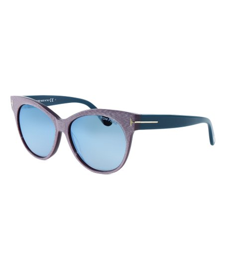 210afed2e5 Tom Ford Light Pink Stripe   Blue Cat-Eye Sunglasses