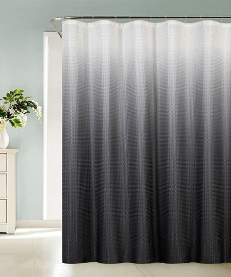 Gray Ombre Sea Black Shower Curtain