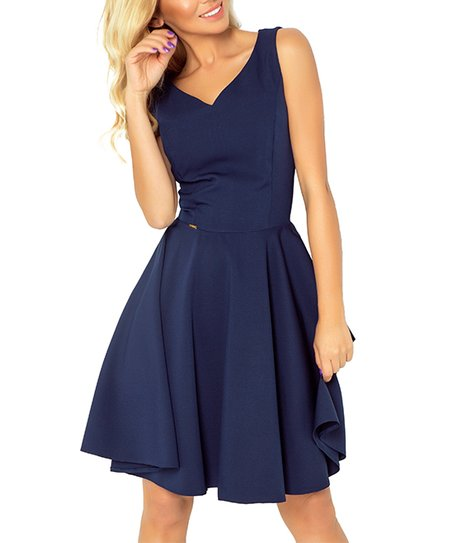 5f0730e28179e love this product Navy V-Neck Fit & Flare Dress - Women