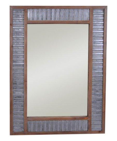 Galvanized Metal Wood Framed Mirror