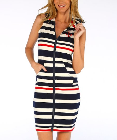 cba3950e59 love this product Navy Stripe Kangaroo Pocket Sheath Dress - Women