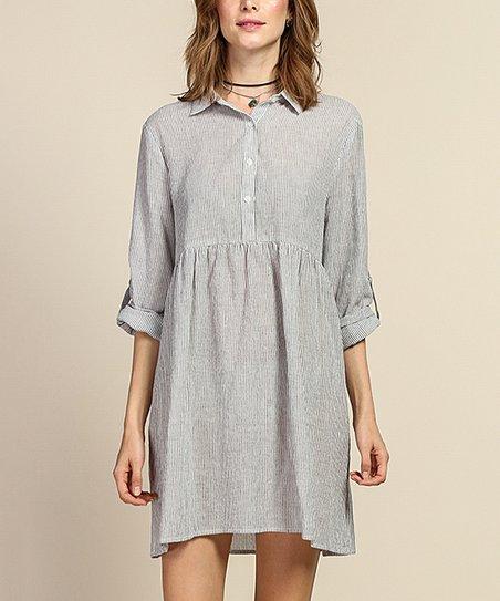Tassels N Lace Off White Charcoal Seersucker Shirt Dress Zulily