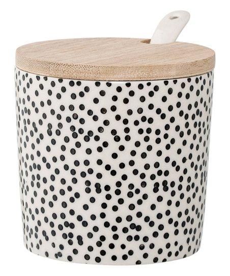 "2.75""H Ceramic Julie Jar With Bamboo Lid & Spoon Set"