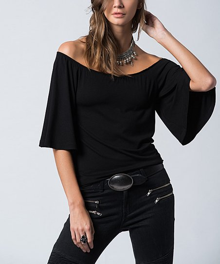 8f8af21c892ba love this product Black Bell-Sleeve Top - Plus