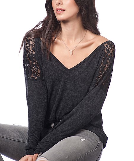 4fcb9e398bcdc love this product Anthracite Sequin V-Neck Top - Women