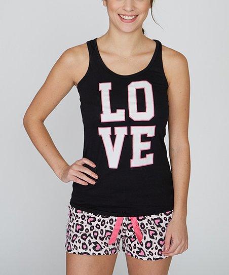 f851ca3bba love this product Black  Love  Pajama Shorts Set - Women