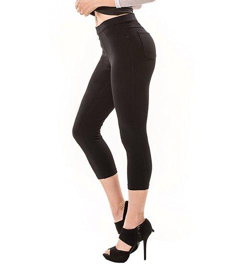 5006cfcaf539c0 MeMoi Black French Terry Capri Leggings - Women | Zulily