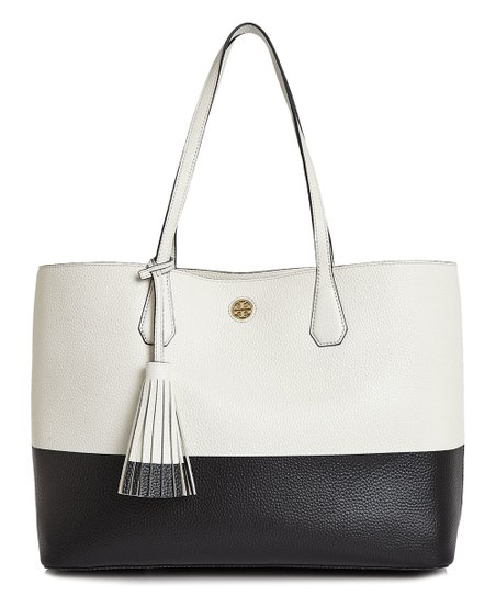 807d1557d33 love this product New Ivory   Black Color Block Perry Pebbled Leather Tote