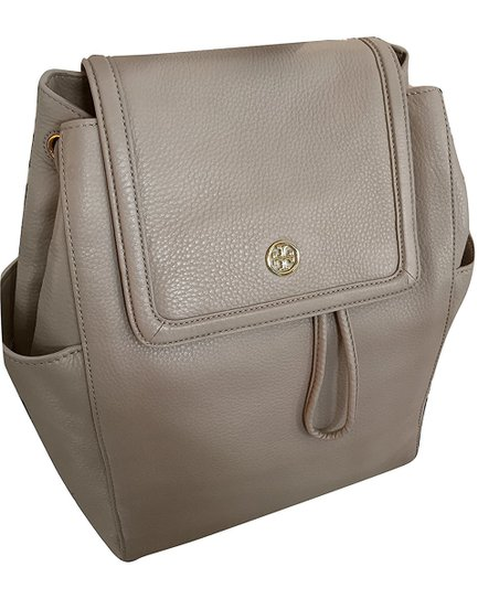 0aaa5875937d Tory Burch French Gray Landon Flap Pebbled Leather Backpack