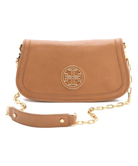 cde0f53597bf love this product Royal Tan Amanda Logo Pebbled Leather Clutch