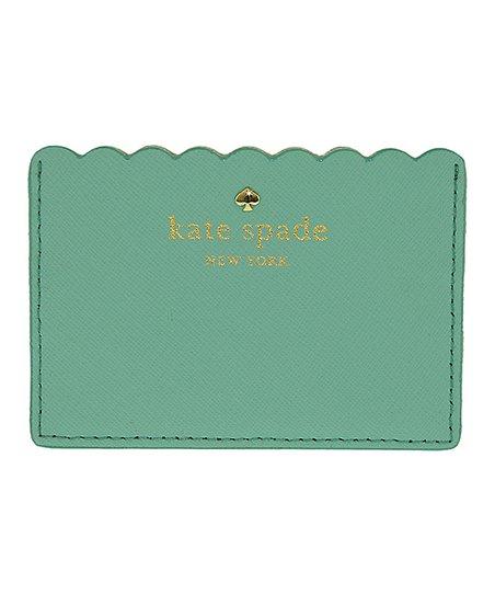 finest selection b86ce 1d14e Kate Spade Soft Aqua & Mint Splash Scalloped Leather Card Holder