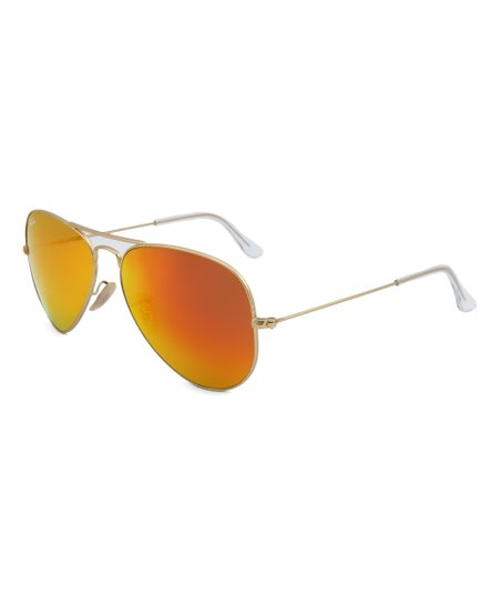 7016fd85988d love this product Matte Gold   Brown Mirror Orange Aviator Sunglasses -  Unisex