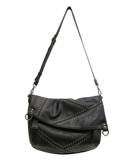 Black Grommet Jennifer Messenger Crossbody Bag