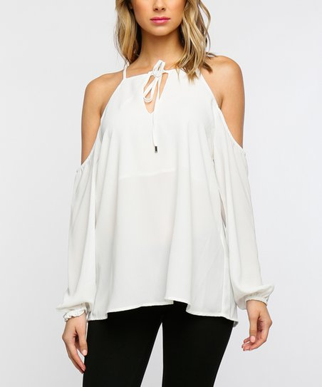 9e9f472fff5187 love this product White Tie-Neck Cold Shoulder Top