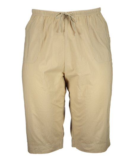 d392662be2f love this product Washed Khaki Park Ave Pedal Pusher Shorts - Plus