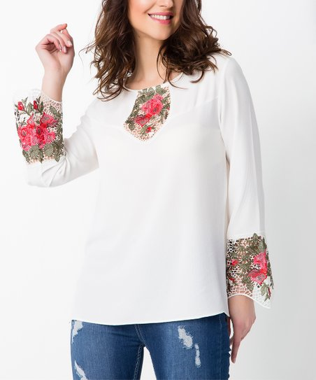 love this product White   Pink Floral Embroidered Tunic - Women