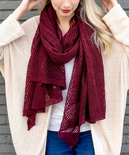 3c003a435cdff Leto Collection Burgundy Open-Knit Scarf - Women | Zulily