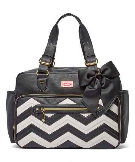 White Zigzag Satchel Diaper Bag