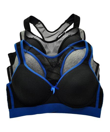 2781d04b78 Angelina Black   Gray Mesh-Back Cotton Sports Bra Set