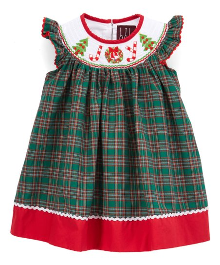 ba7414347a0f love this product Green Plaid 'Joy' Smocked Bishop Dress - Infant, Toddler  & Girls