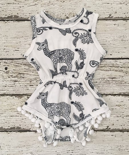 1985433259 love this product White & Black Deer Pom-Pom Romper - Toddler & Girls