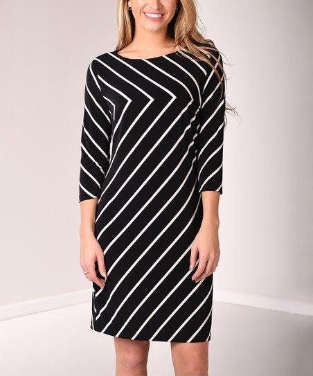 49288ef228e2 Lbisse Black   White Chevron Stripe Three-Quarter Sleeve Sheath ...