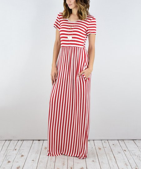29ab1253c9 egs by éloges Red & White Stripe Short-Sleeve Maxi Dress | Zulily