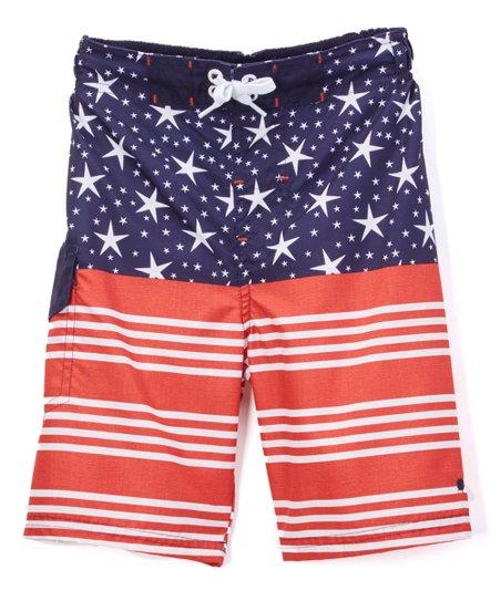 f5b1a84f53 Lucky Brand Navy American Flag Board Shorts - Boys | Zulily