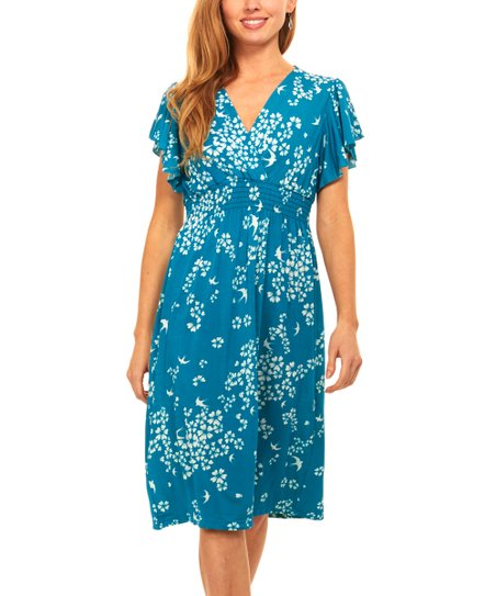 88c3bf093c love this product Blue   White Floral Smocked-Waist V-Neck Dress