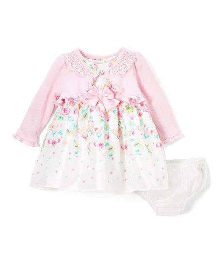 7ead3fb96ff8 Nannette Baby White   Pink Floral A-Line Dress Set - Newborn