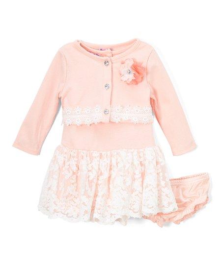 58049002803a Nannette Baby Peach Floral Lace Drop-Waist Dress Set - Infant