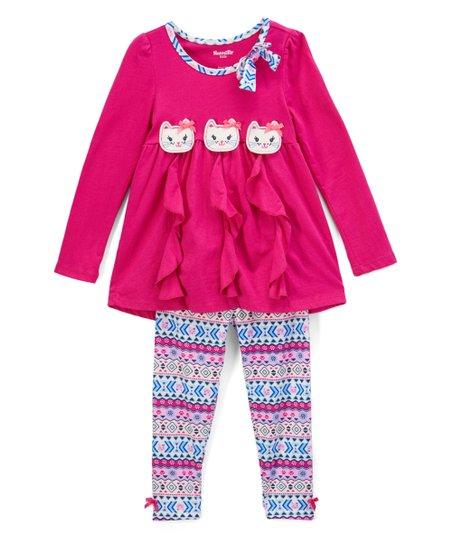 f306c6c88391 Nannette Kids Purple Ruffle-Front Tunic & Pants - Girls | Zulily