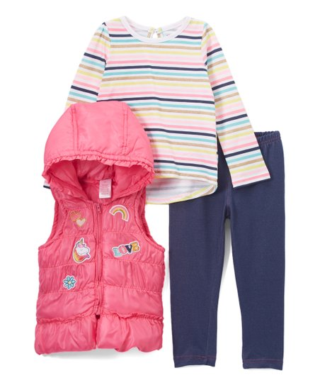 549caeea love this product Pink Patches Quilted Hoodie Vest Set - Infant & Toddler