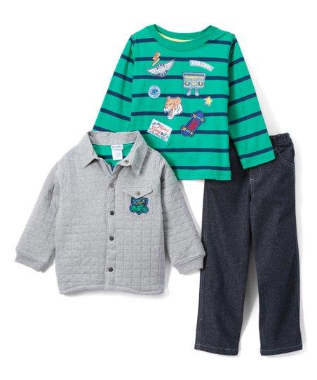 65c337b7a Nannette Kids Gray   Green Stripe Patch Jacket Set - Infant ...