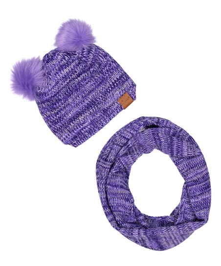 love this product Purple Pom-Pom Hat   Scarf cc08a75ca7a