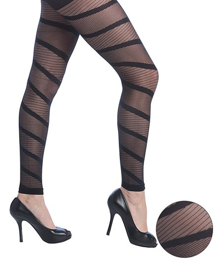 9e9614aeb Isadora Black Sheer Stripe Three-Pair Footless Tights Set - Women ...