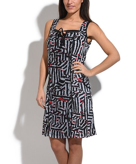 f3558309a1 L33 by Virginie Moi Black   Red Zigzag Lace-Up Sheath Dress