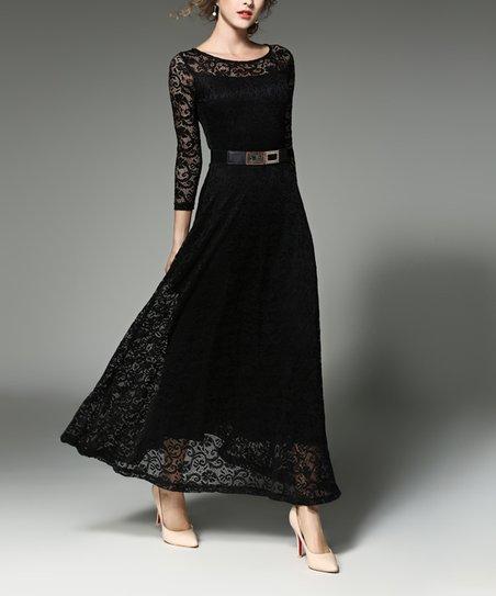d95f828b026 Coeur de Vague Black Lace-Overlay Maxi Dress - Women