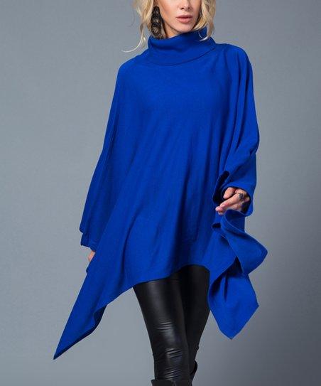 5d485b6c7 French Town Royal Blue Turtleneck Poncho - Women   Zulily