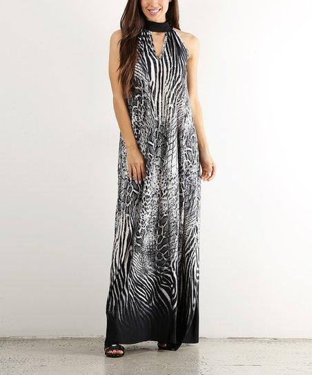 4779aae2bbb Pretty Young Thing Black   White Zebra Keyhole Maxi Dress - Women ...