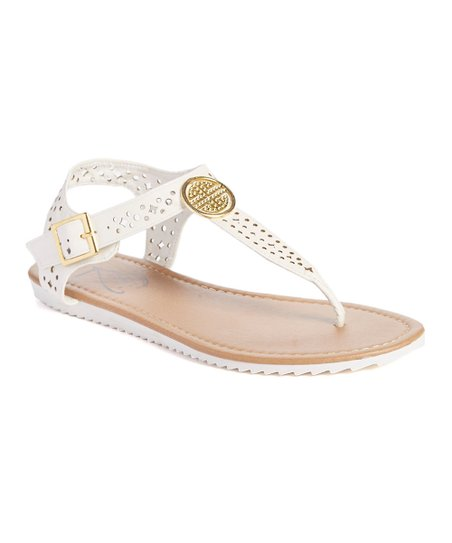 d56fe1d82c9 love this product White Cutout Embellished T-Strap Sandal - Women