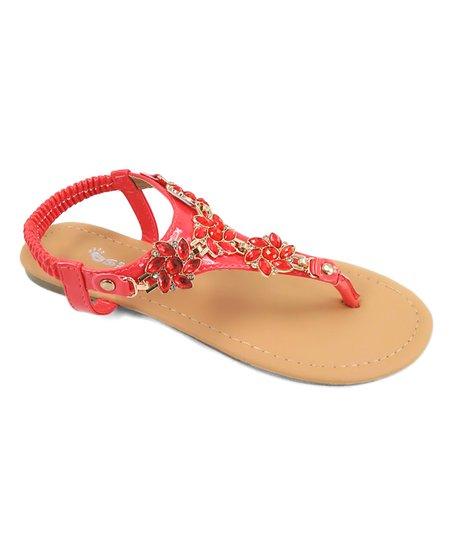 Embellished T-Strap Sandal CORAL
